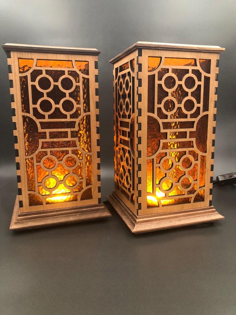 Zen Wood Shoji Lamps w/Amber Glass Set of 2 / LED Table image 0