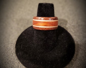 Lacewood and Padauk with Maple Accent Wooden Ring