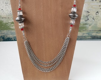 Czech Glass and Chain Multi-Strand Necklace