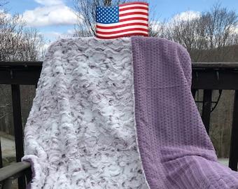 Snowy Owl Adult Minky Throw Blanket, Faux Fur Minky Throw, 2 Layer Minky Blanket, XL Minky Throw, Handcrafted Minky Blankets, Purple Minky