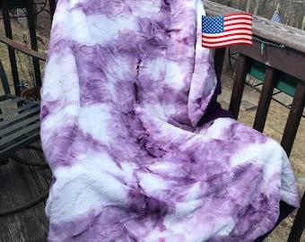 Vanilla Berry Sorbet Adult Minky Throw Blanket - Double Layer Minky Blanket - Faux Fur Minky Throw - Tie Dye Purple Minky Blanket