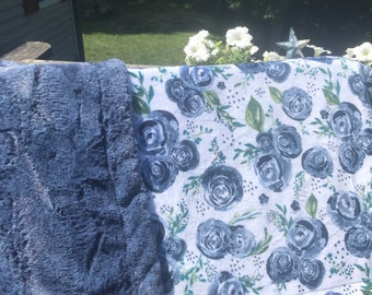 Blue Rose Minky Blanket, Adult Minky Throw, Gift for Mom, XL Minky Throw Blanket, ***Choose Your Backing***, Blue Floral Minky Blanket