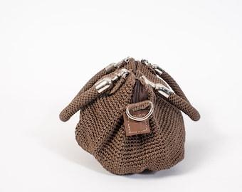 Brown crochet handbag