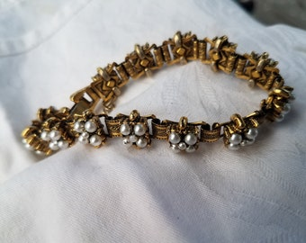 Vintage Pearled Bracelet with Brass Connections