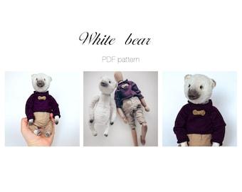 PDF pattern White bear. Polar Bear.