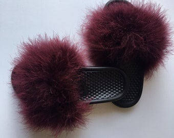 3bf69683c52269 Nike Burgundy Wine Fuzzy Fur Slides maroon faux fur slides marabou slippers  Turkey feather slides furry slipons custom slippers