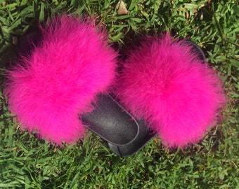 dd546c44763d8e Hot Pink Fuzzy Fur Slides furry sandals womens fur pool slides feather  slippers marabou fur sandals
