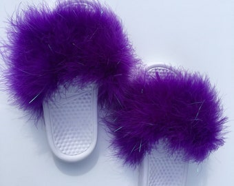 fc68c07866179b Purple nike Fuzzy Fur Slides furry fur slides marabou feather slippers faux  fur slip ons womens fur sandals customized shoes