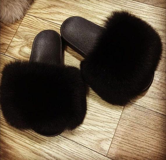 Mila noir fox fourrure diapositives véritable véritable véritable de renard fourrure chaussons de fourrure de renard fourrure sandales personnalisé fourrure chaussons fourrure pour Harley Davidson de glisseHommes t ons fourrure sandales aa759b