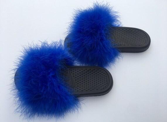 3859678be77 Nike Blue fur slides royal blue Fuzzy Fur Slippers faux fur
