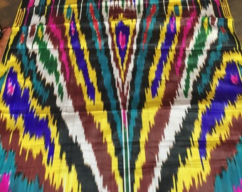 1.09 yard  1 m width 27.55 inch  70 cm Ethnic upholstery vintage fabric by the yard Uzbekistan ikat silk traditional tribal textiles