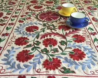 Bon Suzani Table Cloth   Uzbek Suzani Silk Embroidery   Oriental Hand  Embroidered Tablecloth Fabric