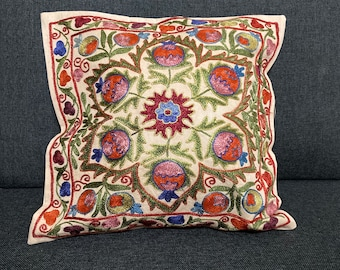 Set of 2 suzani embroidered throw pillow covers Uzbek cushion cover with pomegranate 17.32 x 17.71 inch  44 x 45 cm flower sun /& vine