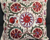 Asian ethnic hand embroidery with sun symbol - Decorative pillows for couch - Uzbek suzani throw pillow cover