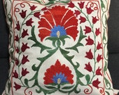 Uzbekistan suzani cushion cover - Mid century pillow cover - Hand embroidered vintage pillowcases