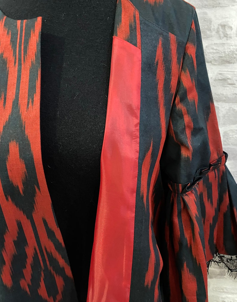 size M hips 98 cm  38.58 Black /& red kaftan jacket chest 96 cm  37.79 Oriental cotton chapan Uzbek ikat caftan dress for women