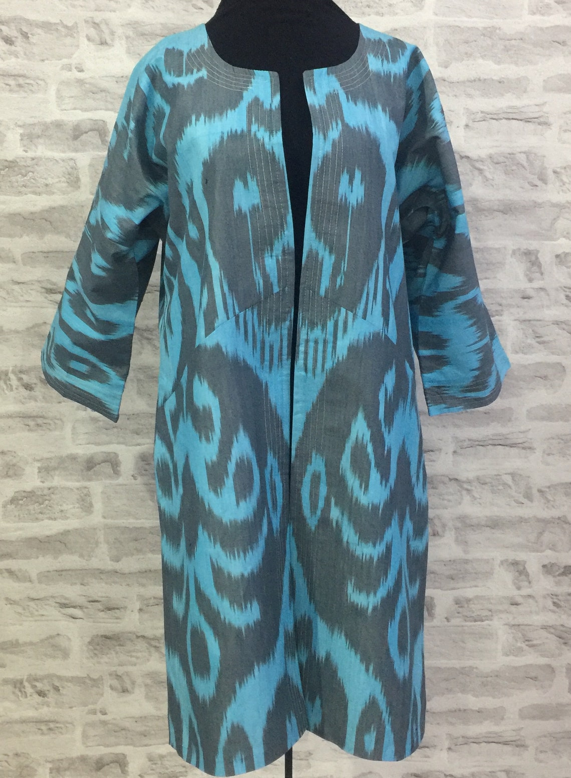 Uzbek Cotton And Silk Ikat Ethnic Coat Chapan - Boho Nomad Dress Kaftan Robe, Size Xl, Chest 106 Cm / 41.73