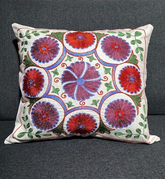 Uzbek purple suzani pillow covers 16x16,ethnic throw blue suzani pillow case,boho cushion cover lumbar,floral blue pillow sham kilim pillow