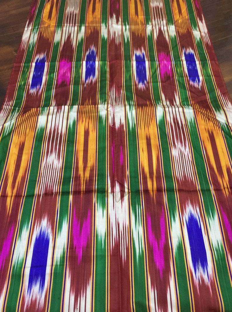 Indian Asian Oriental hand woven fabric by the yard Traditional Uzbek fabric Vintage Ikat Silk fabric Tribal kaftan fabric