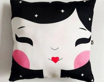 Girl pillow, home, decor, nusery, baby, gift.