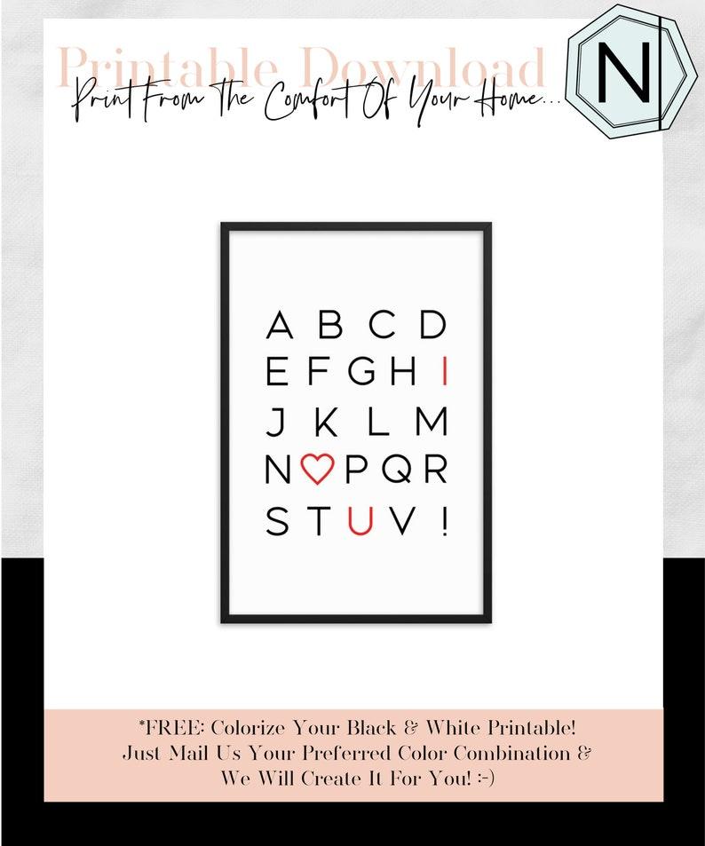 I Love You Alphabet: Minimalistic Typography Black & White image 0