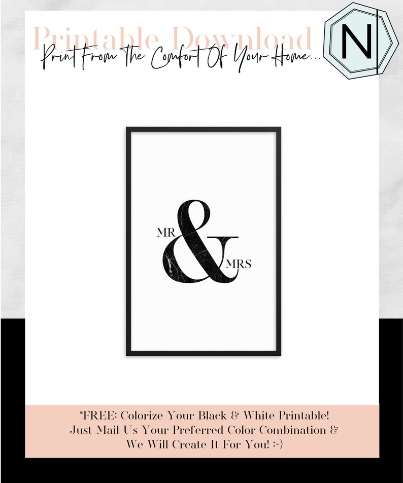 Mr And Mrs: Minimalistic Typography Black & White Printable image 0