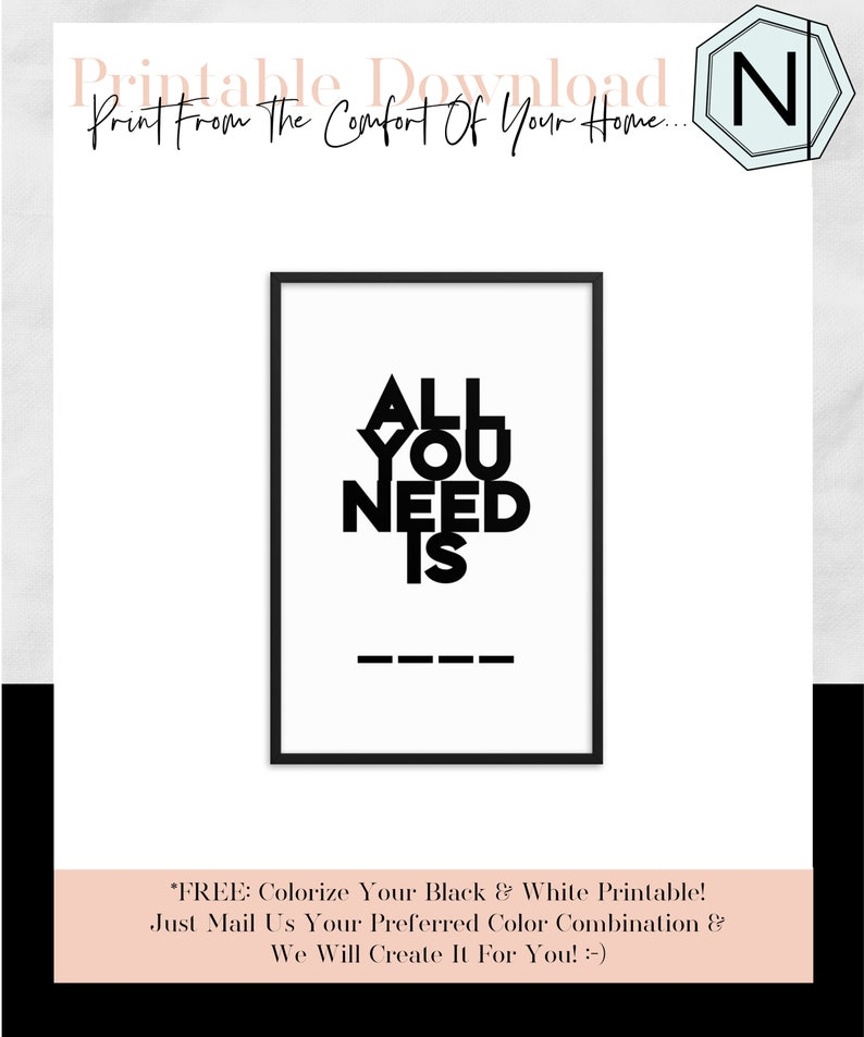 All You Need Is: Minimalistic Typography Black & White image 0