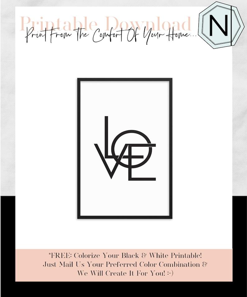Love: Minimalistic Typography Black & White Printable image 0