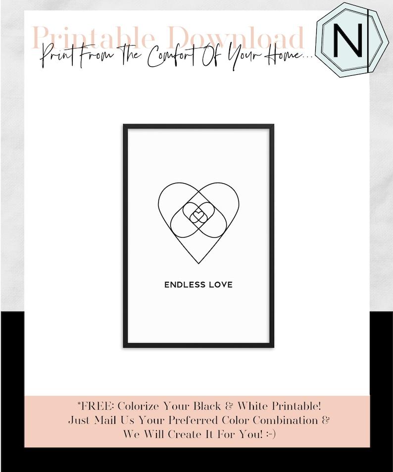 Endless Love: Minimalistic Typography Black & White image 0