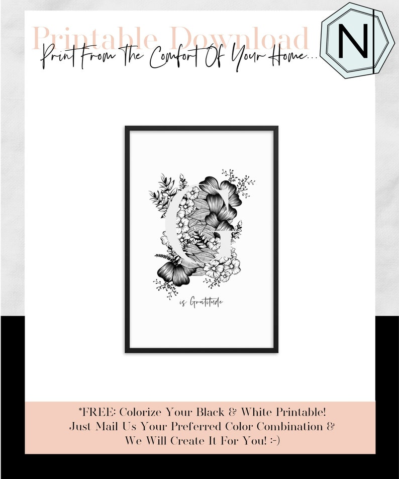 Floral Letter G Is A Minimalistic Alphabet Art Print The image 0