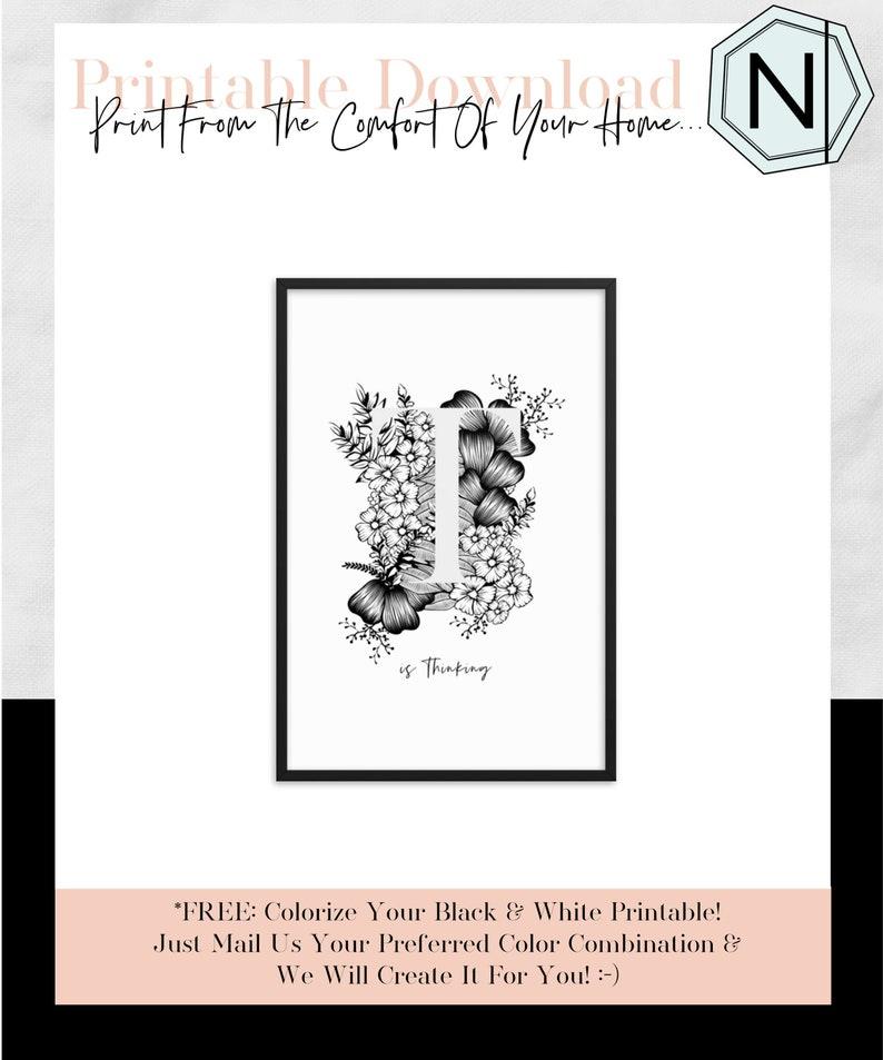 Floral Letter T Is A Minimalistic Alphabet Art Print The image 0