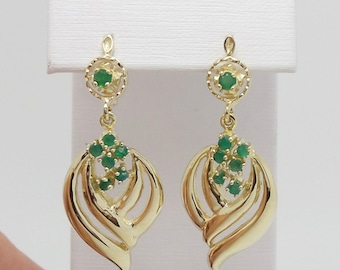 1/2CT Natural Emerald Chandelier Earrings 14K Yellow Gold 0514325 J