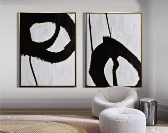 Set Of 2 Minimalist Painting On Canvas, Modern Canvas Art, Painting Set Of  Two, Large Wall Art, Living Room Art   Leah Caylor Fine Art K15