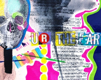 """Original """"UR the fart"""" experimental painting and drawing mixed media collage"""