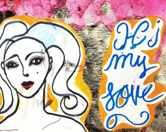 """Original experimental painting and drawing mixed media """"Hi, my love"""" collage postcard"""