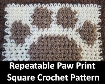Paw Print Crochet Pattern, Square, Blanket, Easy Crochet Pattern, pet crochet, row by row, grid, single crochet, c2c, tapestry