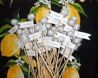 Set of 40 Cheers / Mr & Mrs drink stirrers
