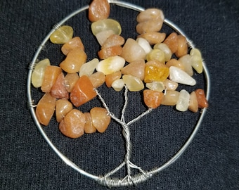 Wire wrapped tree of life featuring carnelian