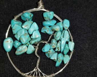 Wire wrapped tree of life feuturing turquoise