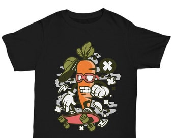 e5026f2ab Carrot on skateboard, funny graphic foodie t-shirt,