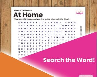 At Home in the Bible Printable Word Search Puzzle   8.5 x 11   JW Fun, Family Worship, Personal Study