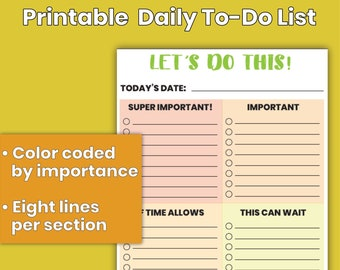 """Printable Daily To-Do List, Chore List 