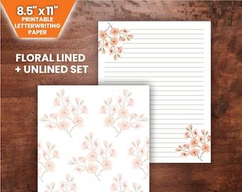 """PRINTABLE Light Pink Floral Letter Set - 8.5x11""""   JW Letterwriting"""