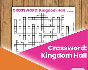 "Kingdom Hall Crossword Puzzle   8.5"" x 11""   JW Printable Activity Puzzle Game"
