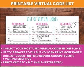 "PRINTABLE Virtual Code List Chart, 5.5 x 8.5""   For Zoom, Google Meet, Microsoft Teams   JW Printables, JW Ministry"