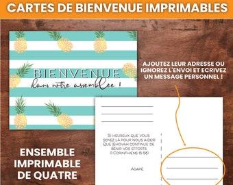 FRENCH Cartes de Bienvenue Imprimables avec Des Ananas, Ensemble Imprimable de Quatre   JW Printable Welcome Postcards