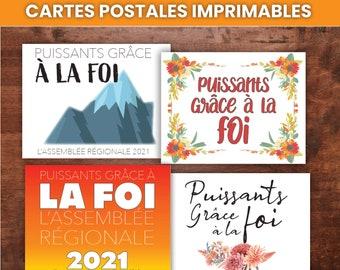 FRENCH Cartes Postales Imprimables Puissants Grace a la Foi   JW Printable Postcards for Encouragement, JW Convention