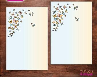 """Butterflies 5.5"""" x 8.5"""" Digital Letter Writing Paper"""
