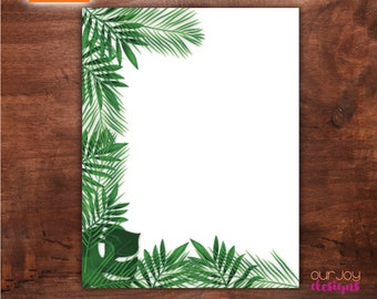 Tropical Greenery Partial Border Printable JW Letter Writing Paper | For Drawing, For Writing | Paradise Paper