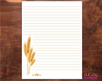 """Harvested Wheat Printable Lined Letterwriting Paper   8.5x11""""   JW Letterwriting Paper for Encouragement"""
